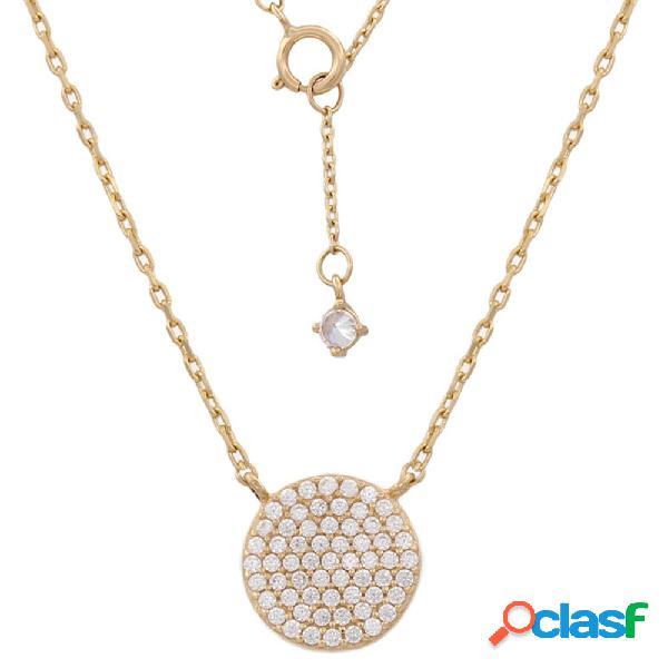 Gargantilla para mujer círculo de oro 18 kl. con circonitas