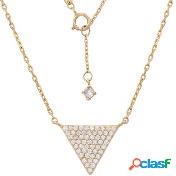 Gargantilla triángulo de oro 18 kl. con circonitas
