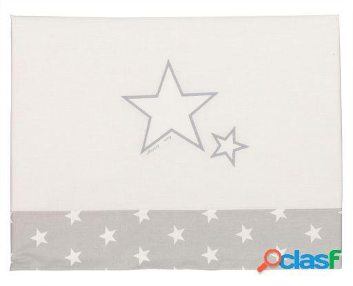 Happy Way Juego de sábanas para minicuna con estrellas gris