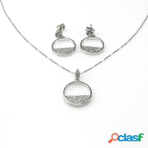 Juego pendientes y collar círculo de plata y circonitas