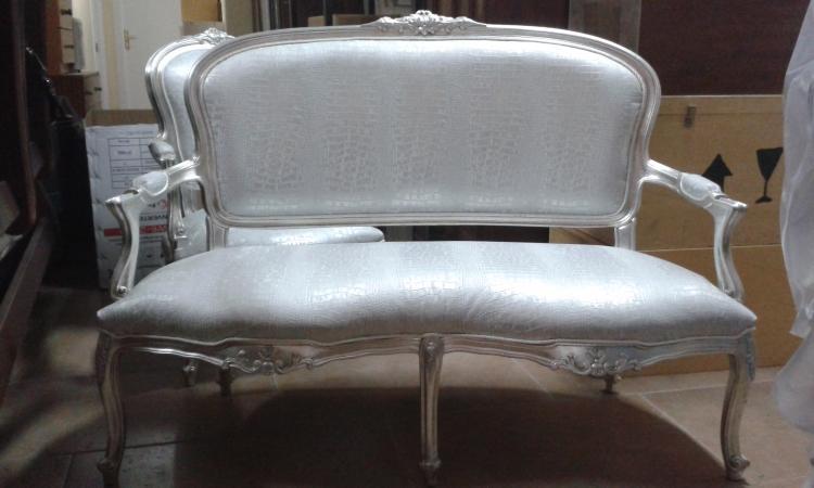 Juego sofá y silla Luis XV
