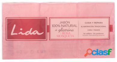Lida Jabón 100% Natural Glicerina y Rosa Mosqueta Pack 3