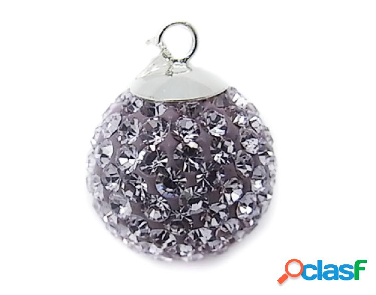 Llamador de angel de plata con cristal violeta 20 mm.