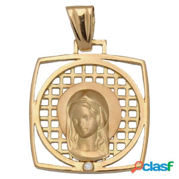Medalla de oro 18 kl. cuadrada virgen niña 20 x 23 mm.
