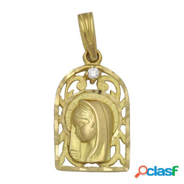 Medalla de oro 18 kl. virgen niña 13 x 21 mm.
