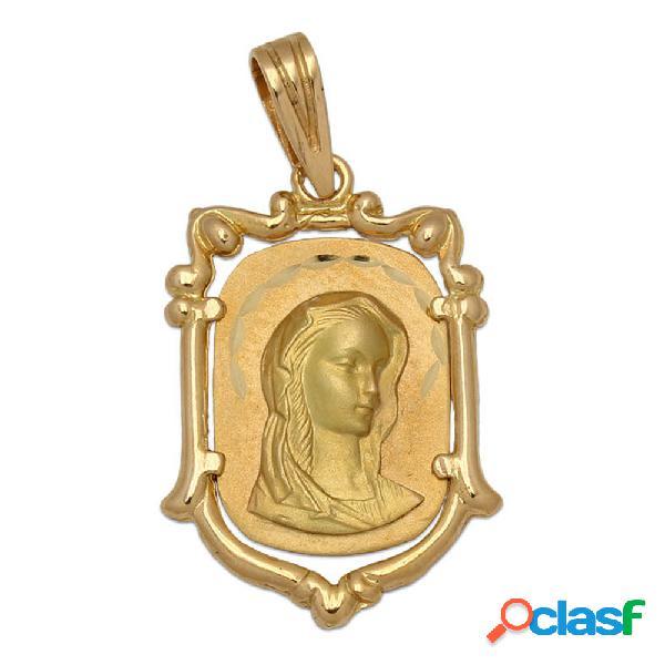 Medalla de oro de 18 kl. con la virgen niña 17 x 25 mm.