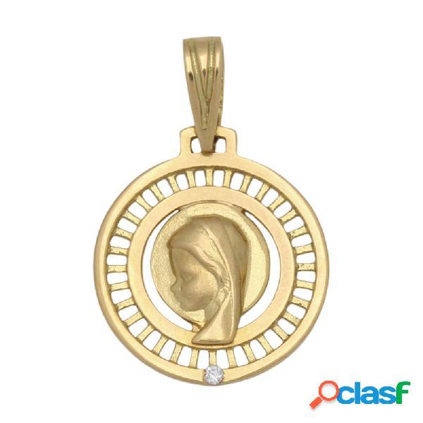 Medalla de oro de 18 kl. virgen niña de 17 mm.