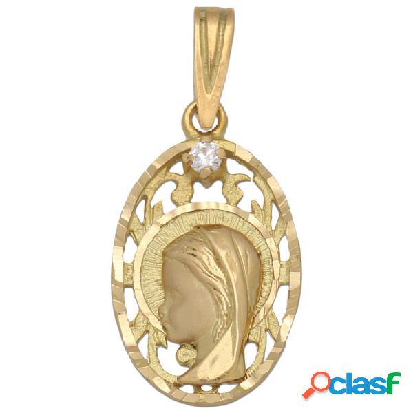 Medalla en oro 18 kl. virgen niña 13 x 21 mm.