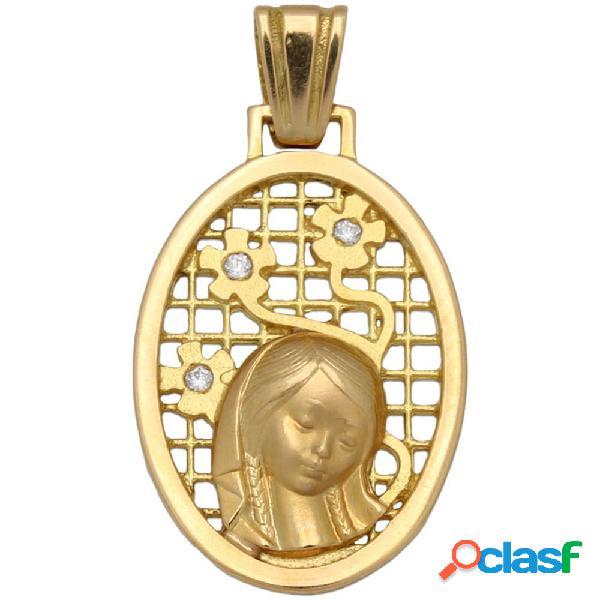 Medalla en oro 18 kl. virgen niña 17 x 27 mm.