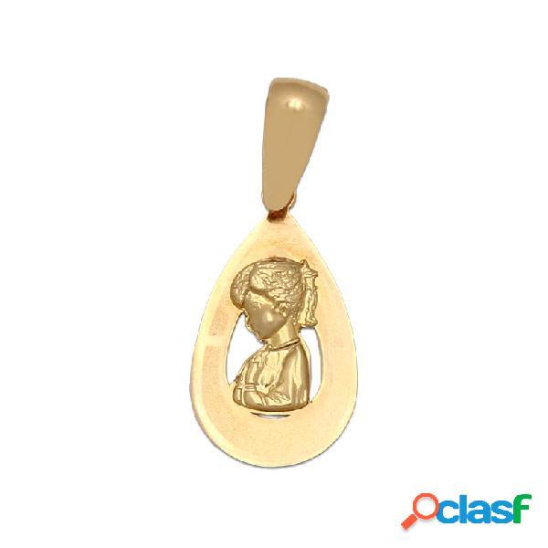 Medalla lágrima de oro virgen niña