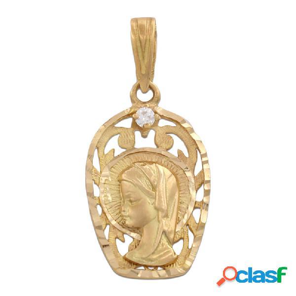 Medalla oro 18 kl virgen niña con circonitas 13 x 21 mm.