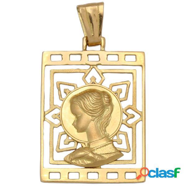 Medalla oro de 18 kl. virgen niña 19 x 28 mm.
