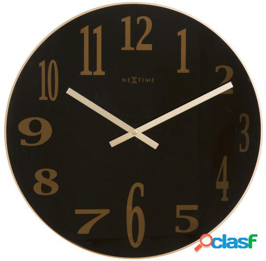 Nextime Wall Clock Ø 43X3,5 Cm Glass Black Smoky Mirror