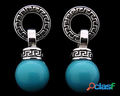 Pendientes circulo grecas con bola turquesa 12 mm.