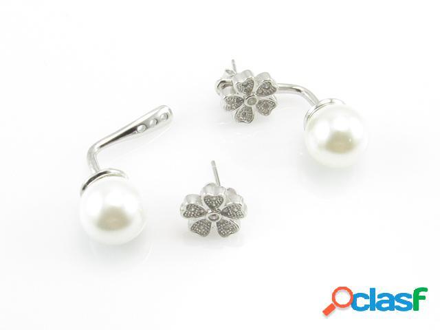 Pendientes de plata dobles con perlas y circonitas