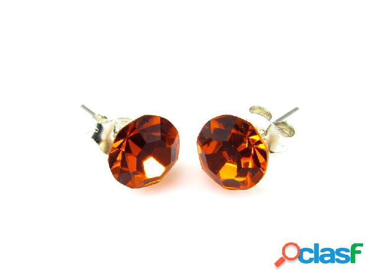 Pendientes de plata y cristal swarovski naranja para mujer