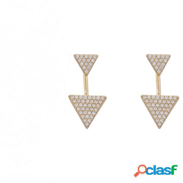 Pendientes dobles flecha de oro 18 kl. y circonitas