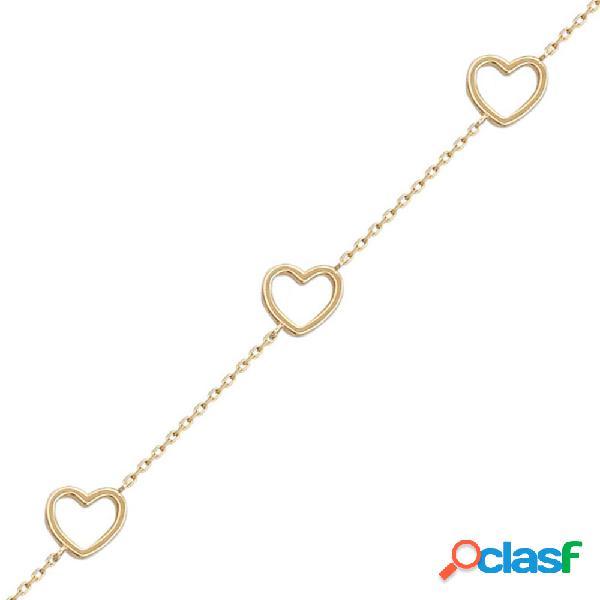 Pulsera 3 corazones de oro de 18 kl.