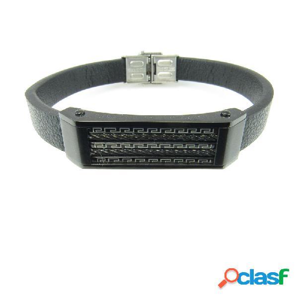 Pulsera cuero negro con placa grecas de acero negro