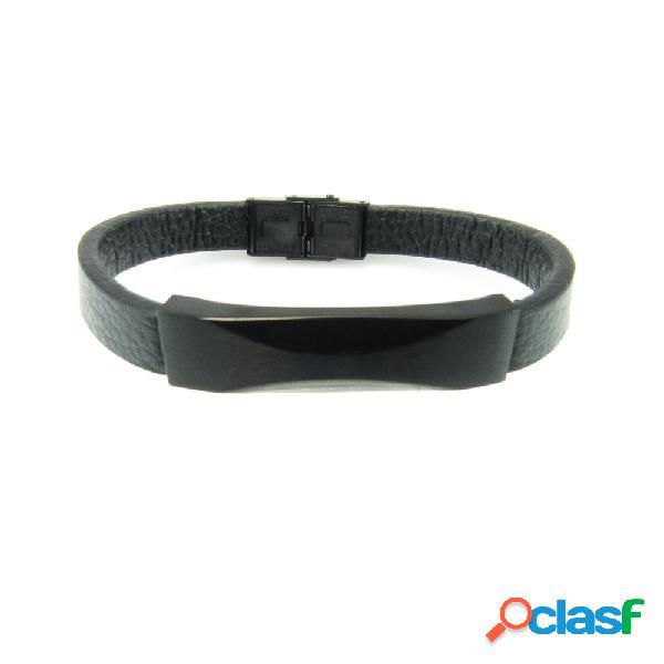 Pulsera de cuero negro con placa y cierres de acero negro