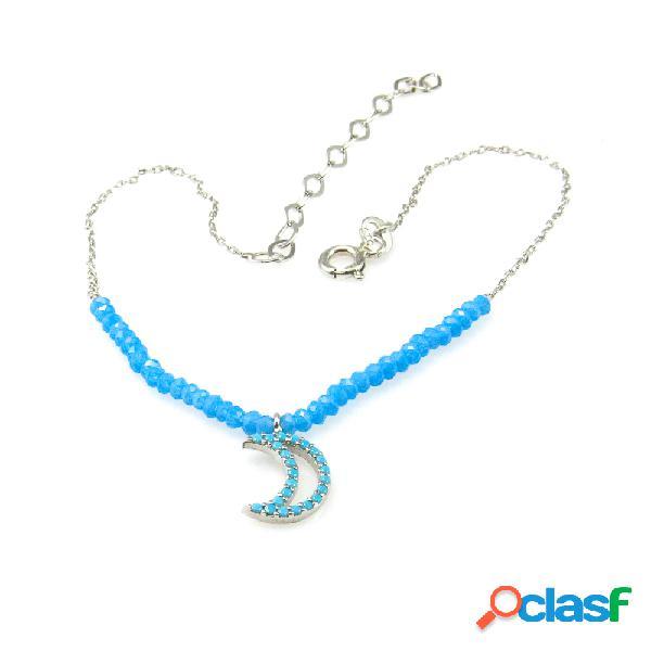 Pulsera de tobillo en plata rodiada luna con piedras azul