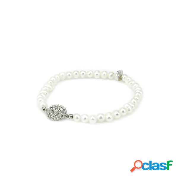 Pulsera perlas con detalle en plata rodiada y circonitas
