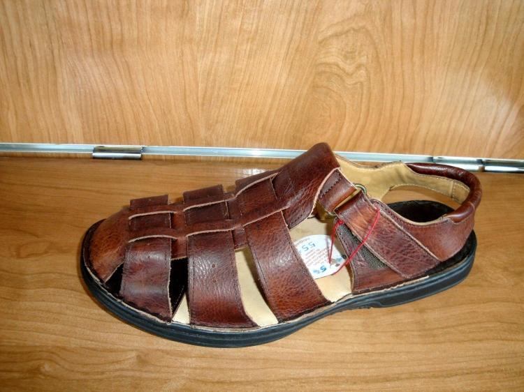 Sandalia de piel marrón hombre talla 45