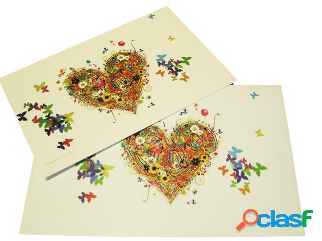 Tarjeta de felicitación corazon y mariposas
