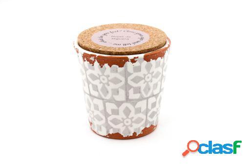 Vela Eura cerámica 10x10cm Hojas de higuera