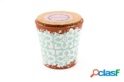 Vela Eura cerámica 10x10cm Menta