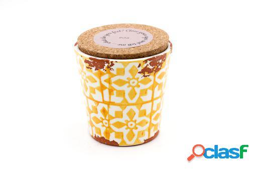 Vela Eura cerámica 10x10cm Piña