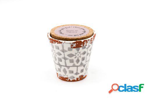 Vela Eura cerámica 8,5x8cm Hojas de higuera
