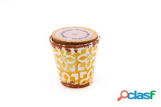 Vela Eura cerámica 8,5x8cm Piña