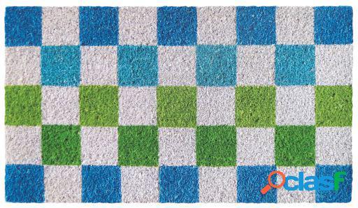 Wellindal Felpudo azul y verde cuadrados