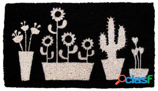 Wellindal Felpudo negro cactus 40x70cm