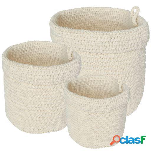 Wellindal Juego de 3 cestas blanco