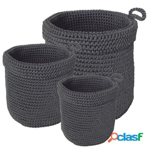 Wellindal Juego de 3 cestas gris oscuro