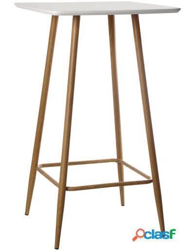 Wellindal Mesa bar madera tablero blanco con patas metal