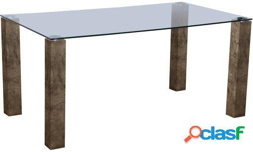 Wellindal Mesa comedor madera y cristal
