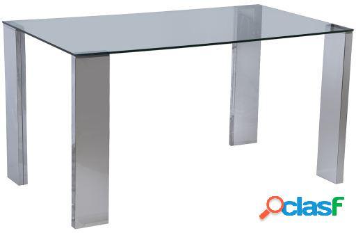Wellindal Mesa comedor metal y cristal