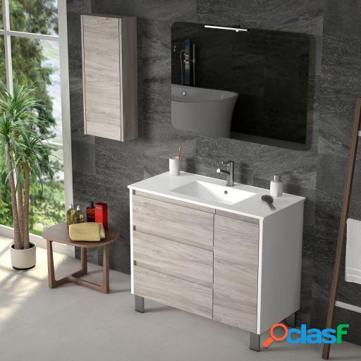 Wellindal Mueble de baño Wood 100cm Blanco / Pino Gris Bajo
