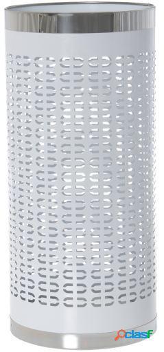 Wellindal Paragüero metal blanco con borde acero inoxidable
