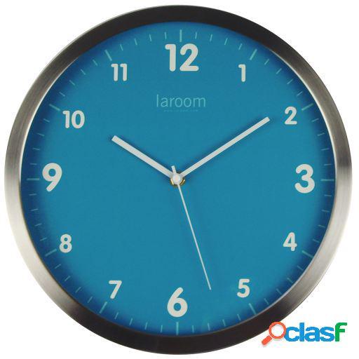 Wellindal Reloj de pared minimal azul acero inoxidable