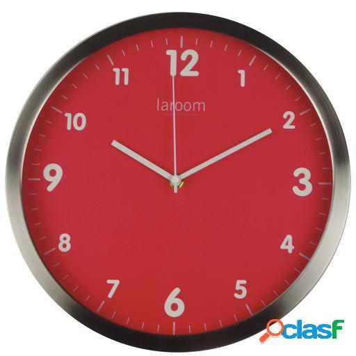 Wellindal Reloj de pared minimal fucsia acero inoxidable