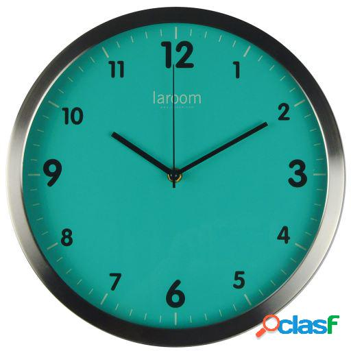 Wellindal Reloj de pared minimal verde acero inoxidable