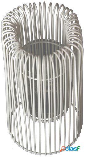 Wellindal Set 2 portavelas metal blanco con vaso cristal