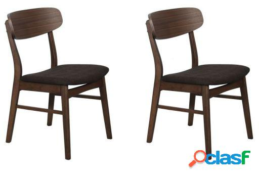 Wellindal Set 2 sillas comedor madera tapizada
