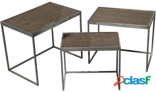 Wellindal Set 3 mesas madera y metal con sobre cristal