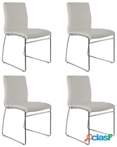 Wellindal Set 4 sillas comedor metal y polipiel