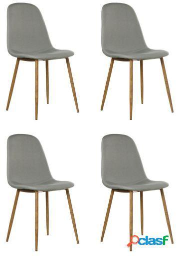 Wellindal Set 4 sillas tela gris con patas metal acabado